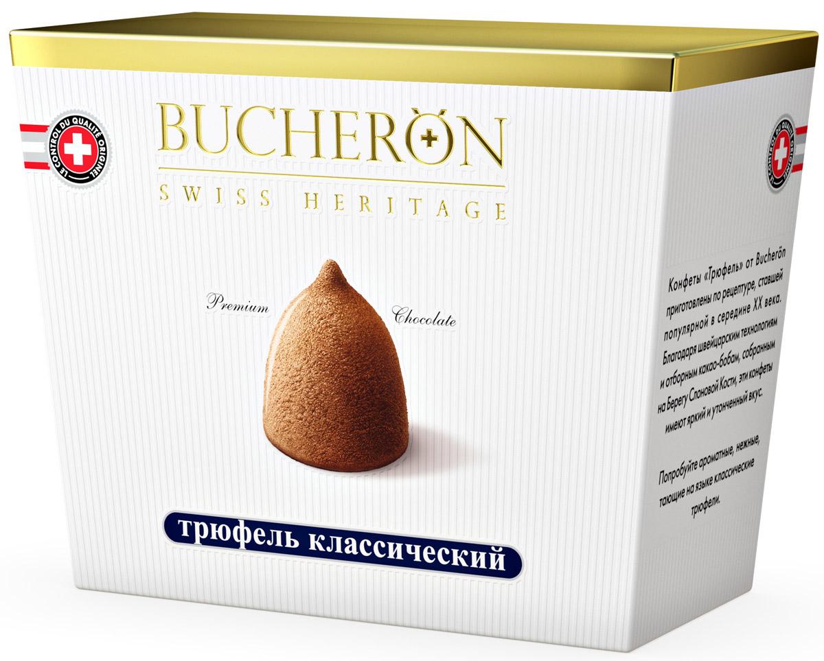 Bucheron конфеты Трюфель классический, 175 г0120710Конфеты Трюфель от Bucheron приготовлены по рецептуре, ставшей популярной в середине XX века. Благодаря швейцарским технологиям и отборным какао-бобам, собранным на Берегу Слоновой Кости, эти конфеты имеют яркий и утонченный вкус.Попробуйте ароматные, нежные, тающие на языке классические трюфели.