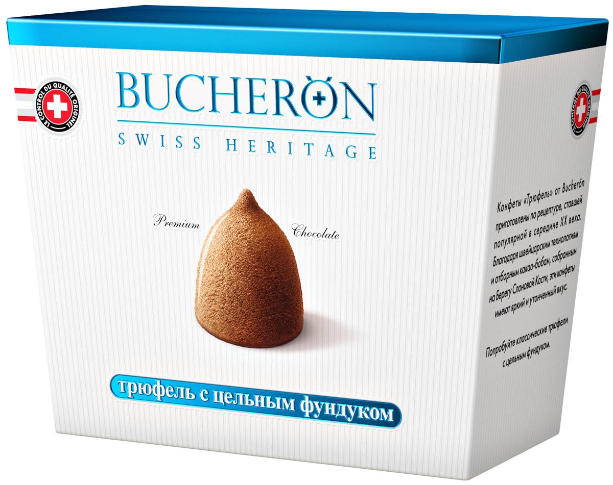 Bucheron конфеты Трюфель с цельным фундуком, 175 г0120710Конфеты Трюфель от Bucheron приготовлены по рецептуре, ставшей популярной в середине XX века. Благодаря швейцарским технологиям и отборным какао-бобам, собранным на Берегу Слоновой Кости, эти конфеты имеют яркий и утонченный вкус.Попробуйте классические трюфели с цельным фундуком.