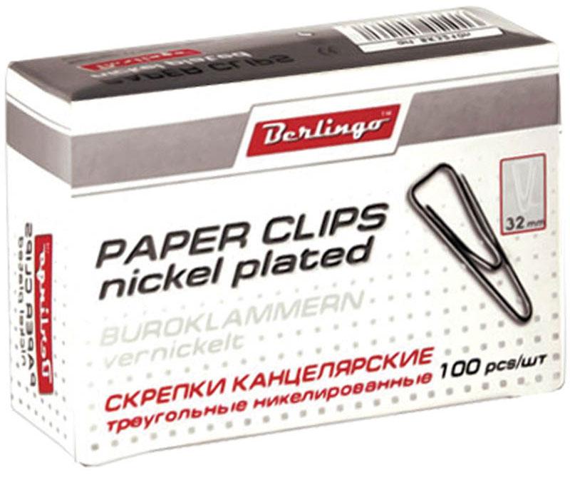 Berlingo Скрепки никелированные треугольные 32 мм 100 штDC-32Никелированные канцелярские скрепки Berlingo стандартной круглой формы. Не ржавеют, не пачкают бумагу, обеспечивают надежное скрепление.В упаковке 100 штук.