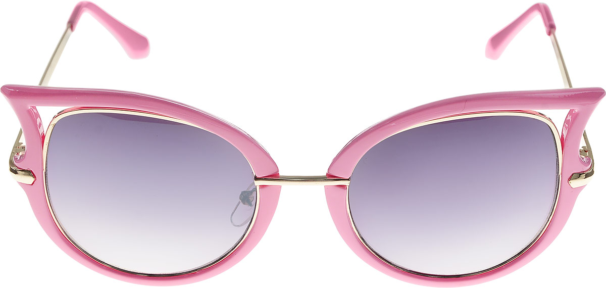 Очки солнцезащитные женские Kawaii Factory Corners, цвет: розовый. KW010-000206INT-06501Стильные солнцезащитные очки Kawaii Factory Corners выполнены из пластика и металла. Оправа очков легкая, прилегающей формы, не создает никакого дискомфорта. В комплекте имеется черный чехол, который имеет жесткую конструкцию и закрывается на застежку-молнию.