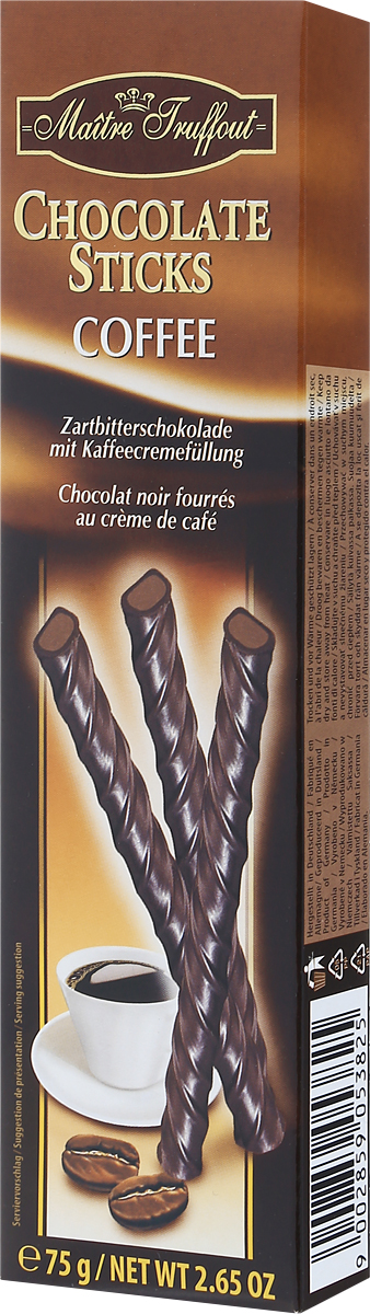 Maitre Truffout Палочки из горького и молочного шоколада с кофейной начинкой, 75 г0120710Палочки составят замечательную пару с кофе, чаем, капучино или молоком. Их также можно предложить к мороженому. Сдержанный аромат шоколада дополняют аппетитные нотки ванили и кофе. Вкус медленно тающего и приятно обволакивающего шоколада гармонично переплетается с хорошо выраженными оттенками кофе.Уважаемые клиенты! Обращаем ваше внимание, что полный перечень состава продукта представлен на дополнительном изображении.