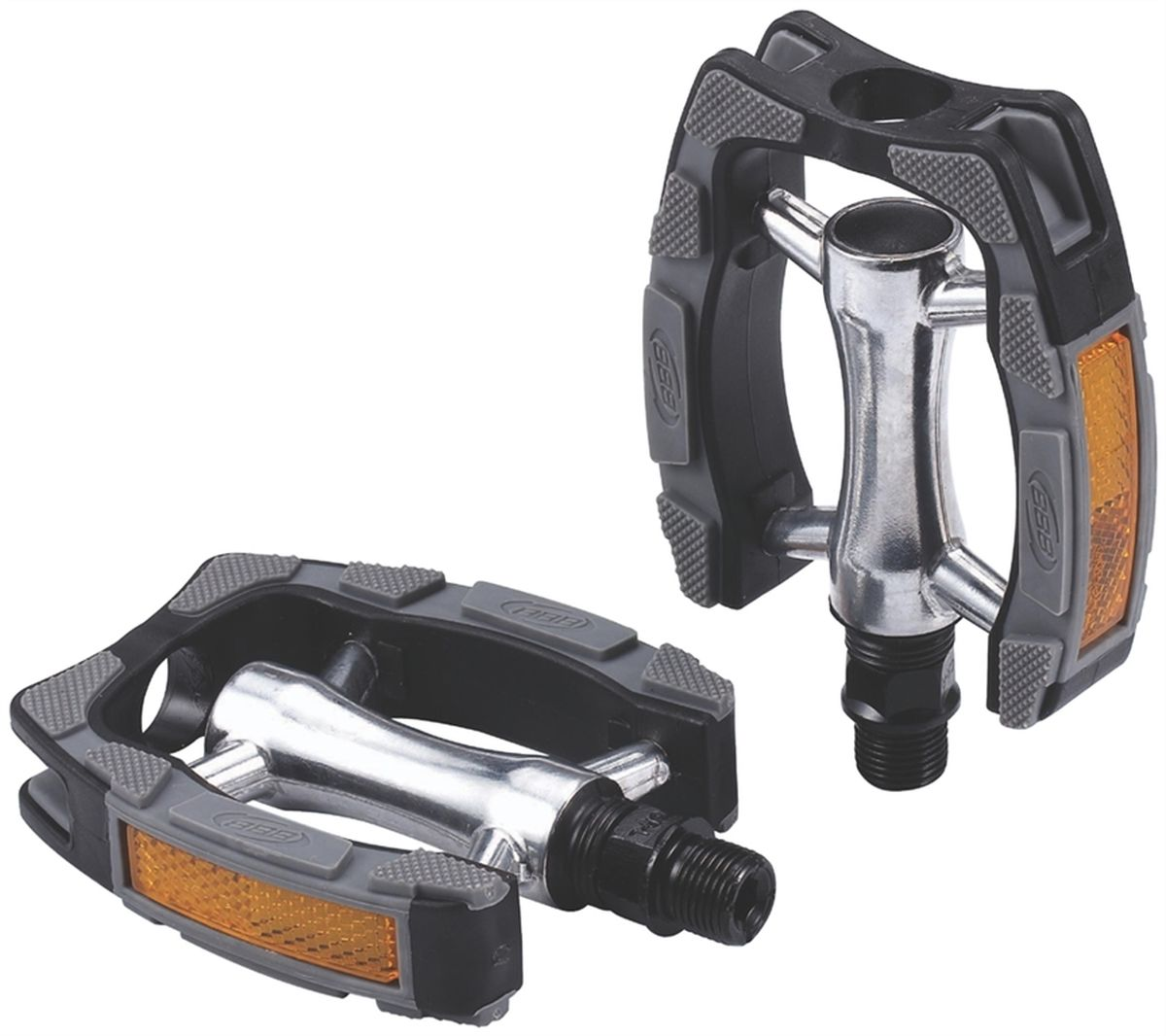 Педали BBB Trekking ComfortRider, цвет: черный, 2 штBPD-29Высокопрочные цельные педали BBB Trekking ComfortRider с корпусом из алюминия. Рамка выполнена из композитного материала.Встроенные светоотражатели для безопасности.Прочная ось CrMO.Противоскользящее резиновое покрытие сверху и снизу.