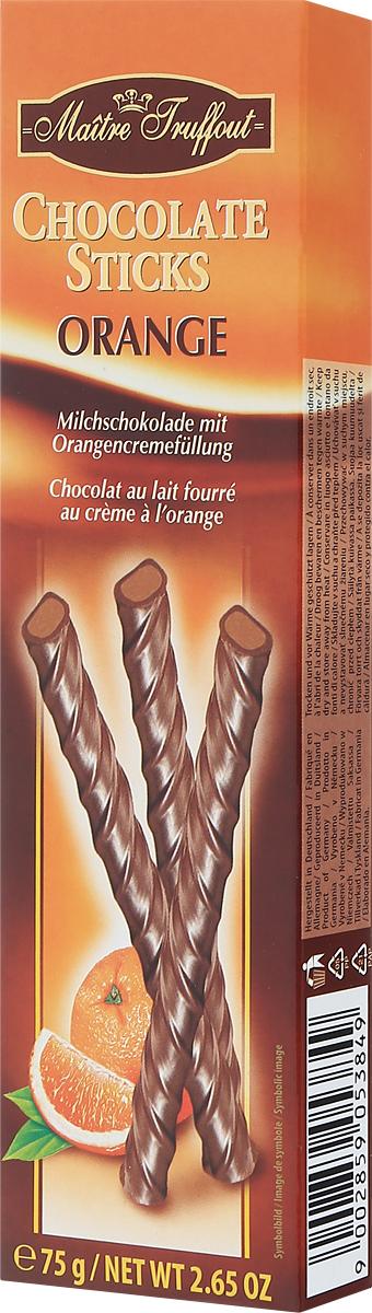 Maitre Truffout Палочки из молочного шоколада с апельсиновой начинкой, 75 г7.68.03Лакомство можно предложить к чашечке чая, кофе или капучино. Оно станет хорошим дополнением к стакану теплого молока. Палочки можно использовать в качестве украшения десертов или мороженого. Сладкий вкус молочного шоколада гармонично сочетается с выразительными оттенками спелого апельсина.Уважаемые клиенты! Обращаем ваше внимание, что полный перечень состава продукта представлен на дополнительном изображении.