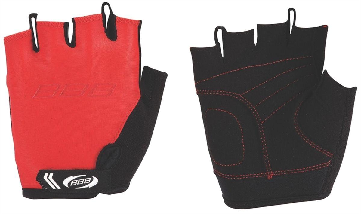 Перчатки детские велосипедные BBB Kids, цвет: красный, черный. BBW-45. Размер L1888Перчатки BBB Kids разработаны специально для детских рук. Дышащий верхний слой выполнен из эластичной лайкры. Ладонь изготовлена из материала Amara с дополнительной подкладкой из вспененного материала. Застежки велкро (Система WristLock) надежно фиксируют перчатки на руке. Петли между пальцами обеспечивают легкое снимание перчаток.