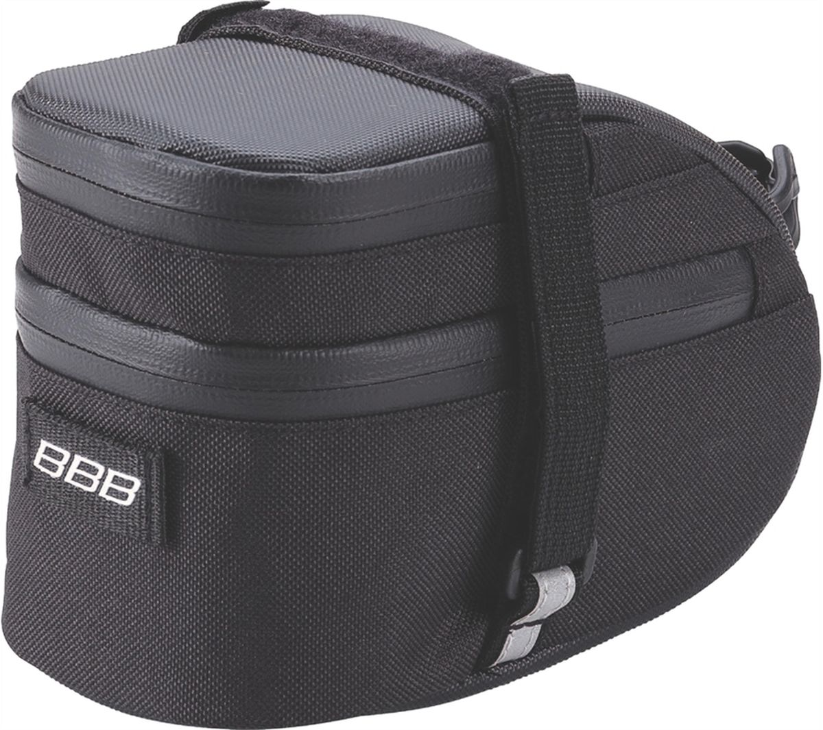 Велосумка под седло BBB EasyPack, цвет: черный. Размер LBSB-31LВ технологичной подседельной сумке BBB EasyPack применяются лучшие материалы и новейшие технологии. Синяя подкладка обеспечивает лучшую видимость содержимого. Эластичный ремешок и карман для простоты организации содержимого вашей сумочки . Водонепроницаемая молния с фиксатором дает дополнительную безопасность и абсолютно бесшумна при езде. Крепление для заднего габарита-LED фонарика. Черная светоотражающая полоска обеспечивает лучшую видимость вас на дороге. Двойная застежка на липучке помогает просто и быстро установить/снять сумку. Резиновый ремешок крепления к подседельному штырю для надежной фиксации сумочки и во избежание повреждений лайкровых шорт и подседельного штыря.Большая сумка разделена на два отсека. Верхний отсек отлично подходит для хранения кошелька, ключей, или документов.
