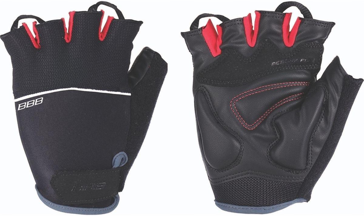 Перчатки велосипедные BBB Omnium, цвет: черный, красный. Размер LZ90 blackВелосипедные перчатки BBB Omnium скроены с учетом особенностей строения женских рук. Стильные перчатки с эластичной тыльной стороной выполнены из лайкры и сетчатого материала. Комфортная ладонь из материала clarino и вставкой из материала с эффектом памяти. Также перчатки оснащены вставкой для удаления влаги/пота. Закрепляются на руке они благодаря застежке велькро (Система WristLock).