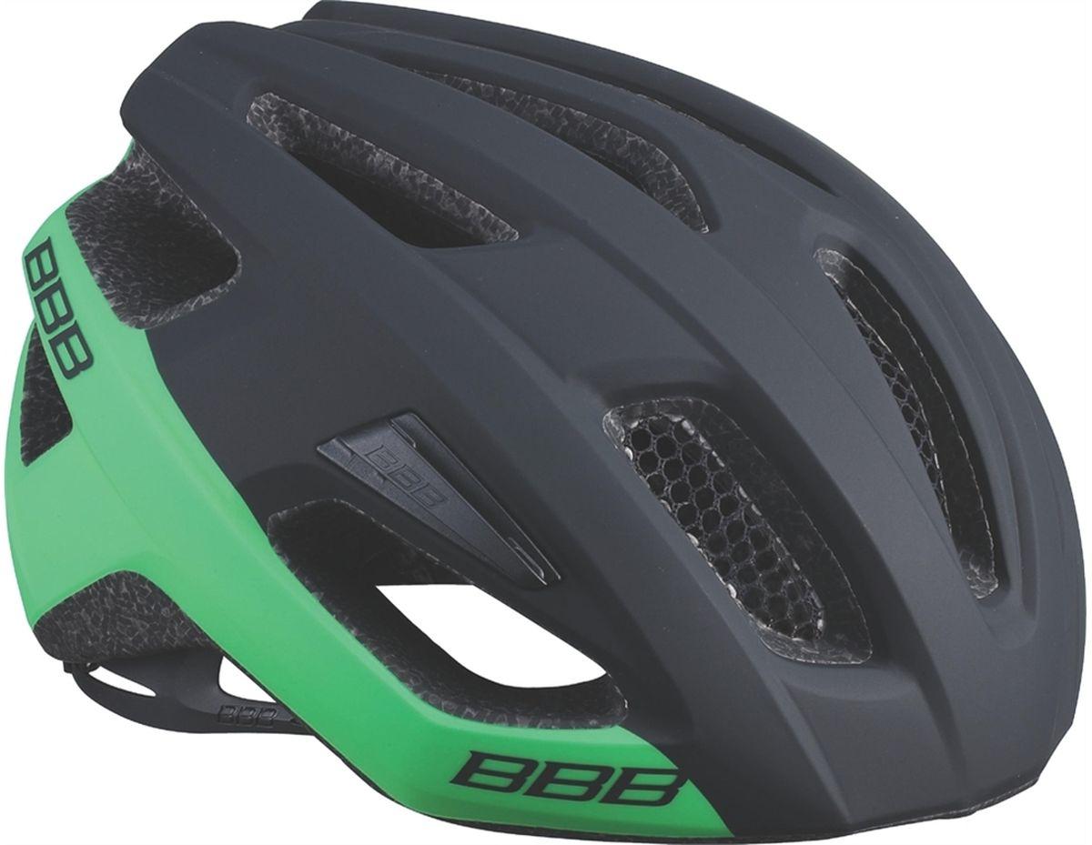 Шлем летний BBB Kite, цвет: черный, зеленый. Размер MZ90 blackЕсли вы в поисках по-настоящему универсального шлема, то BBB Kite - именно то, что нужно. Продуманная конструкция предельно функциональна. Катаетесь ли вы по шоссе, или по трейлам - с BBB Kite вы всегда в безопасности. Низкопрофильная конструкция обеспечивает дополнительную защиту наиболее уязвимых участков головы. Поликарбонатная оболочка обеспечивает наилучшую защиту. Интегрированная конструкция.14 вентиляционных отверстий.Отверстия для вентиляции в задней части шлема для оптимального распределения потоков воздуха.Сетка для защиты от залетающих в шлем насекомых.Настраиваемые ремешки для максимально комфортной посадки.Простая в использовании система настройки TwistClose.Съёмный козырёк со скрытым креплением.Съемные мягкие накладки с антибактериальными свойствами и возможностью стирки.Светоотражающие наклейки на задней части шлема.Обхват головы: 55-58 см.