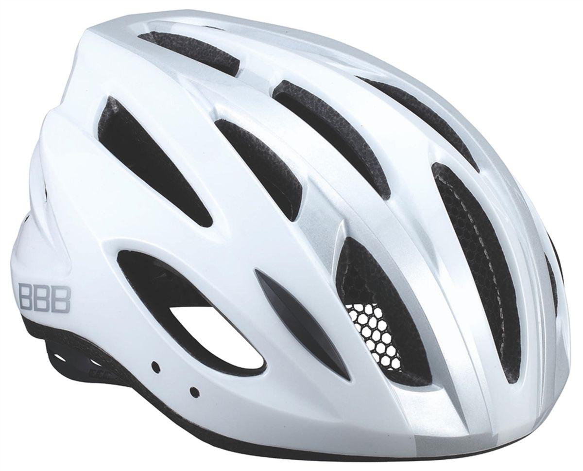 Шлем летний BBB Condor, цвет: белый, серебристый. Размер MZ90 blackЕсли вы не понаслышке знакомы с разнообразными насекомыми, залетающими в вентиляционные отверстия шлема летом - вам может очень пригодиться Condor. Фронтальные отверстия прикрыты мелкой сеткой для защиты от непрошенных гостей. Кроме того, у Condor всего суммарно 18 отверстий для вентиляции и интегрированная конструкция для максимальной защиты в случае падений. Съёмный козырёк делает этот шлем одинаково хорошо подходящим как для шоссе, так и для маунтинбайка.Интегрированная конструкция.18 вентиляционных отверстий.Отверстия для вентиляции в задней части шлема для оптимального распределения потоков воздуха.Защитная сетка от насекомых в вентиляционных отверстиях.Настраиваемые ремешки для максимально комфортной посадки.Простая в использовании система настройки TwistClose, можно настроить шлем одной рукой.Съемные мягкие накладки с антибактериальными свойствами и возможностью стирки.Светоотражающие наклейки на задней части шлема.Съёмный козырёк в комплекте.Размеры: M (54-58 см) и L (58-61,5 см).