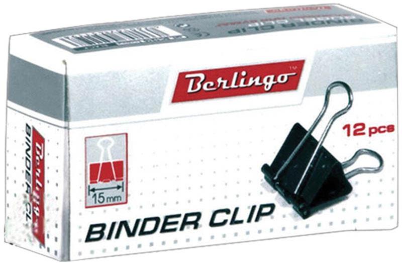 Berlingo Зажим для бумаг ширина 15 мм 12 шт162148Зажим для бумагBerlingo предназначен для скрепления бумажных носителей.Зажим выполнен из стали. В упаковке 12 зажимов черного цвета. Они надежно и легко скрепляют, не деформируют бумагу, не оставляют на ней следов.