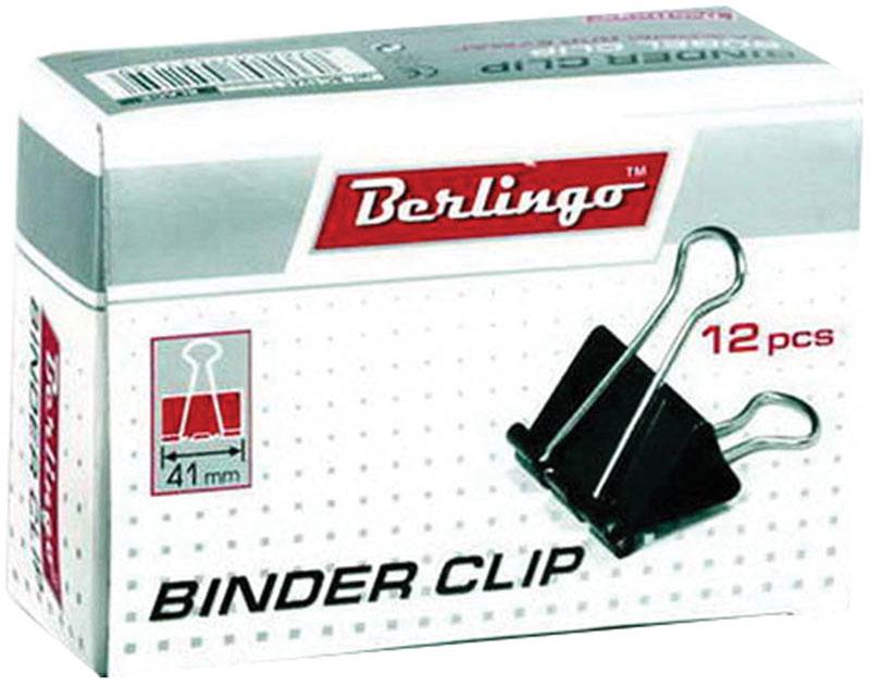 Berlingo Зажим для бумаг ширина 41 мм 12 штFS-00103Зажим для бумагBerlingo предназначен для скрепления бумажных носителей.Зажим выполнен из стали. В упаковке 12 зажимов черного цвета. Они надежно и легко скрепляют, не деформируют бумагу, не оставляют на ней следов.