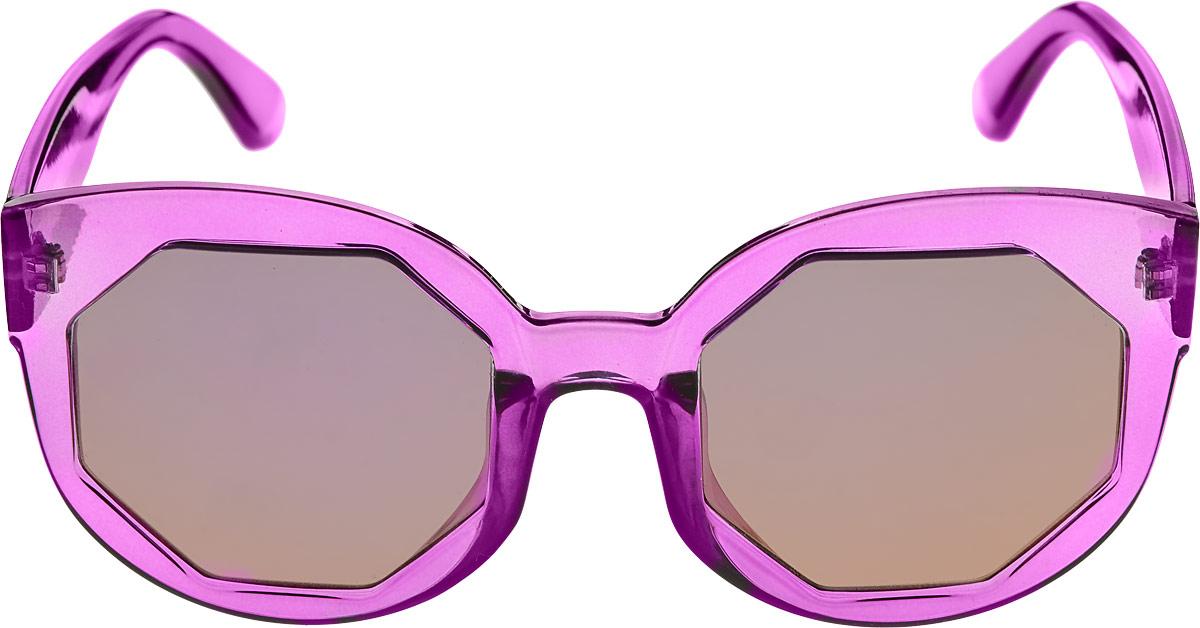 Очки солнцезащитные женские Kawaii Factory Многогранник, цвет: фиолетовый. KW010-000216INT-06501Солнцезащитные очки Kawaii Factory Многогранник выполнены из пластика. Пластиковая оправа очков легкая, прилегающей формы и поэтому не создает никакого дискомфорта.Такие очки защитят глаза от ультрафиолетовых лучей, подчеркнут вашу индивидуальность и сделают ваш образ завершенным. В комплекте имеется стильный черный чехол, который имеет жесткую конструкцию и закрывается на застежку-молнию.