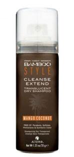 Alterna Bamboo Style Cleanse Extend Mango Coconut - Сухой спрей-шампунь для свежести и объема с ароматом манго и кокоса 40 млFS-54100Сухой шампунь с ароматом манго и кокоса Alterna Bamboo Style Cleanse Extend Translucent Dry Shampoo in Mango Coconut обладает отличными абсорбирующими свойствами, хорошо впитывает жировые выделения кожи головы, остальные продукты жизнедеятельности волос, а также излишки средств для укладки волос. Шампунь Alterna не оставляет порошкообразного остатка, даже на темных волосах, при этом сохраняет и продлевает форму укладки.После применения сухого шампуня с ароматом манго и кокоса Ваши волосы становятся чистыми, свежими и готовы к дальнейшей укладке.Сухой шампунь отлично подходит как средство для достижения объема на свежевымытых волосах. Обладает удивительно приятным и чувственным ароматом манго и кокоса.