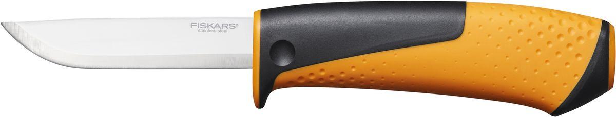 Нож универсальный Fiskars, с точилкой, цвет: оранжевый, черныйK100Универсальный нож Fiskars оснащен эргономичной рукоятью из фибергласа и подходит для работ в домашних условиях или на выездах. Ножны оснащены встроенной точилкой и клипсой для крепления к ремню. Клинок изготовлен из качественной нержавеющей стали и остаётся острым долгое время.Общая длина ножа: 21,5 см.Длина лезвия: 9 см.