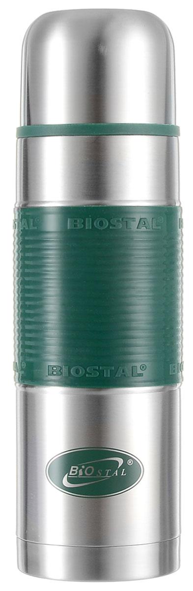 Термос Biostal Flёr, цвет: стальной, зеленый, 750 мл115510Термос с узким горлом Biostal Flёr, изготовленный из высококачественной нержавеющей стали, имеет удобную цветную силиконовую вставку. Такой термос прост в использовании, экономичен и многофункционален. Термос предназначен для хранения горячих и холодных напитков (чая, кофе) и укомплектован пробкой с кнопкой. Такая пробка удобна в использовании и позволяет, не отвинчивая ее, наливать напитки после простого нажатия. Изделие также оснащено крышкой-чашкой. Легкий и прочный термос Biostal Flёrсохранит ваши напитки горячими или холодными надолго. Высота термоса (с учетом крышки): 25.5 см.Диаметр горлышка: 5 см.