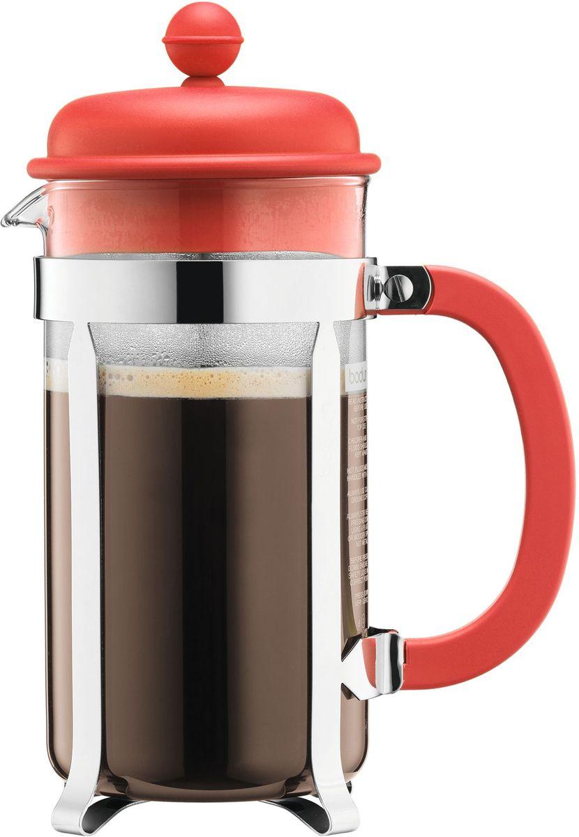 Кофейник с прессом Bodum Caffettiera, цвет: красный, 1 л. A1918-137-Y1626172-3Кофейник Bodum Caffettiera изготовлен из высококачественного стекла и оснащен фильтром french press из нержавеющей стали, который позволяет легко и просто приготовить отличный напиток. Кофейник оснащен удобной пластиковой ручкой, что исключает его выскальзывание из руки и помещен в оправу из пластика, которая эффективно защищает стекло. Настоящим ценителям натурального кофе широко известны основные и наиболее часто применяемые способы его приготовления: эспрессо, по-турецки, гейзерный. Однако существует принципиально иной способ, известный как french press, благодаря которому приготовление ароматного напитка стало гораздо проще.