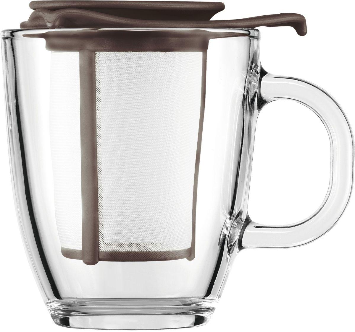 Набор кружек с фильтром Bodum YO-YO, цвет: коричневый. AK11239-618-Y1654 009312Набор кружек с фильтром Bodum YO-YO - это удобная возможность заварить ароматный вкусный чай любого сорта на одну персону. Объемная кружка Yo-Yo имеет фильтр, в который засыпается чай. Как и в заварочный чайник, наливаем в кружку кипяток и плотно накрываем ее крышкой. Через прозрачное боросиликатное стекло можно наблюдать, как красиво заваривается чай. Когда процесс приготовления окончен, фильтр можно поставить на крышку и наслаждаться любимым напитком.
