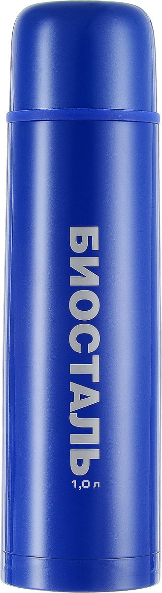 Термос Biostal, цвет: синий, 1 л115510Термос Biostal прост в использовании и многофункционален. Он изготовлен из высококачественной нержавеющей стали. Термос предназначен для хранения горячих и холодных напитков. Корпус изделия покрыт защитным цветным лаком. Удобная пробка с кнопкой позволяет наливать напитки, не отвинчивая саму пробку. Крышку термоса можно использовать в качестве чашки.