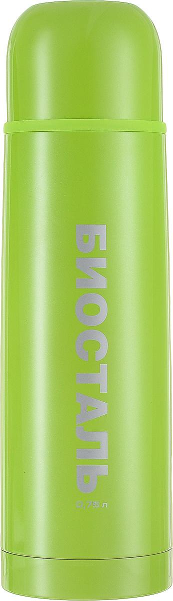 Термос Biostal, цвет: зеленый, 0,75 л318512Термос Biostal прост в использовании и многофункционален. Он изготовлен из высококачественной нержавеющей стали. Термос предназначен для хранения горячих и холодных напитков. Корпус изделия покрыт защитным цветным лаком. Удобная пробка с кнопкой позволяет наливать напитки, не отвинчивая саму пробку. Крышку термоса можно использовать в качестве чашки.