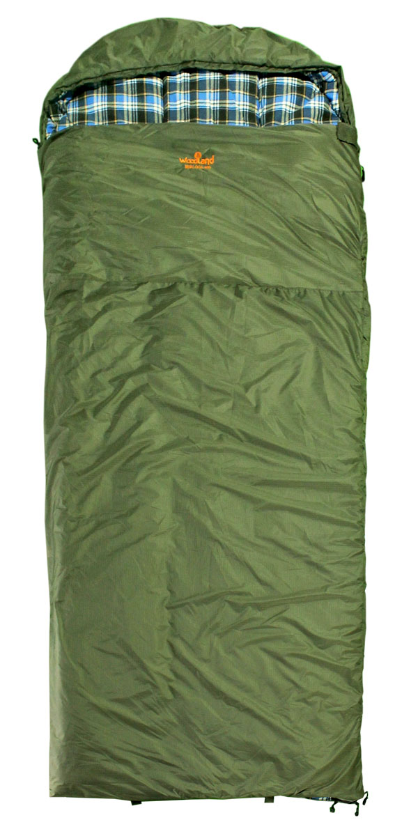 Спальный мешок Woodland Berloga 400 L, левосторонняя молния, цвет: хаки, 190+35 х 90 смKOC2028LEDСпальный мешок Berloga - это идеальное решение для любителей активного отдыха и кемпингов, которым требуется компактное и легкое снаряжение в сочетании с комфортом и наилучшим утеплением. Этот спальник предназначен для эксплуатации в условиях влажной и холодной погоды. Рассчитан на три сезона использования, что позволяет спать в комфорте даже при сильных заморозках.Технология простегивания Jointless позволяет не прошивать внешнюю ткань спального мешка, что значительно уменьшает потерю тепла и позволяет увеличить температуру внутри спальника на 2°С. Объемный утепляющий воротник предотвращает проникновение холодного воздуха. Благодаря двухсторонней молнии спальники могут превращаться в одеяло, а так же состегиваться между собой.Теплоизолирующая полоса вдоль молнии исключает потерю тепла.Размеры: 190+35 х 90 см.Материал: 210T Polyester Rip-Stop W/R W/P.Подкладка: 100% Cotton Flannel.Утеплитель: 2 Х 200G/M2 Hollow Fiber + Шерсть.