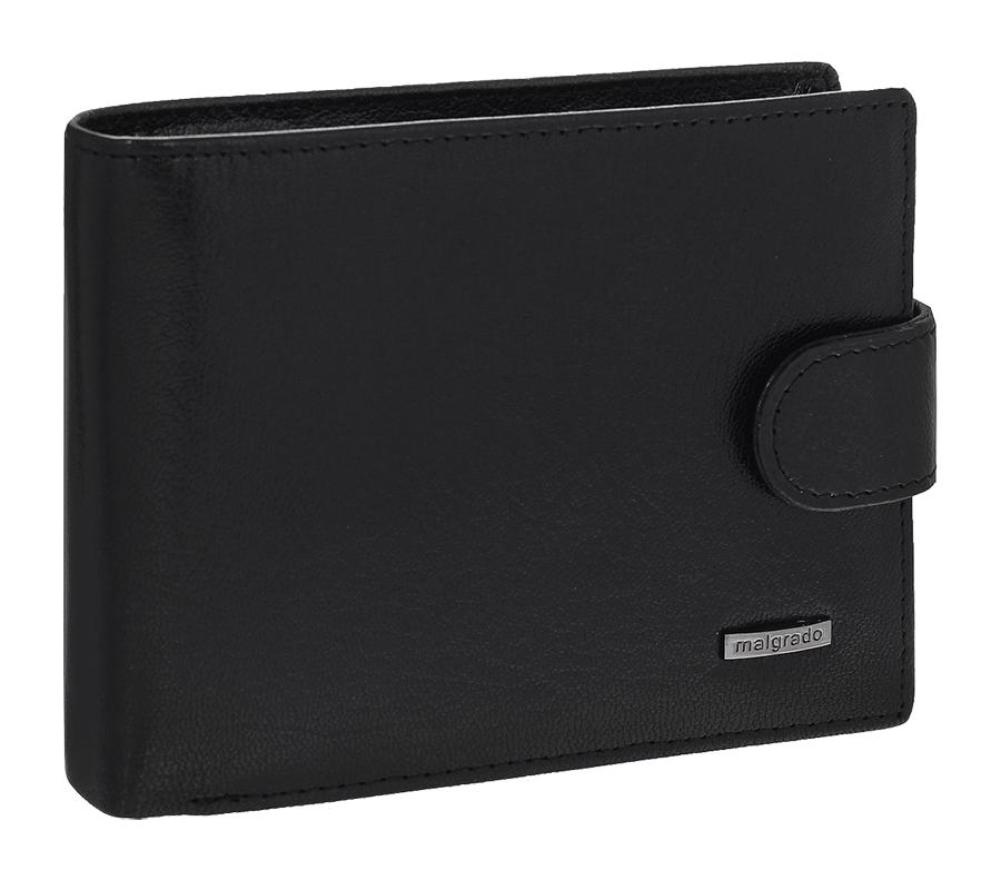 Портмоне мужское Malgrado, цвет: черный. 35027-5401DadiTS01-WH/RD-BKУниверсальное портмоне Malgrado изготовлено из натуральной кожи. Внутри содержит три отделения для купюр, одно из которых на молнии, два потайных кармашка, отсек для мелочи на кнопке, прозрачный кармашек для пропуска или фотографии, отделение для визиток или кредитных карт на шесть карточек, прорезной кармашек и два кармана из прозрачного пластика. Также предусмотрено потайное отделение на застежке-молнии. Закрывается портмоне хлястиком на кнопку.Благодаря насыщенному цвету и лаконичному дизайну, такое портмоне подойдет любителям классических аксессуаров.