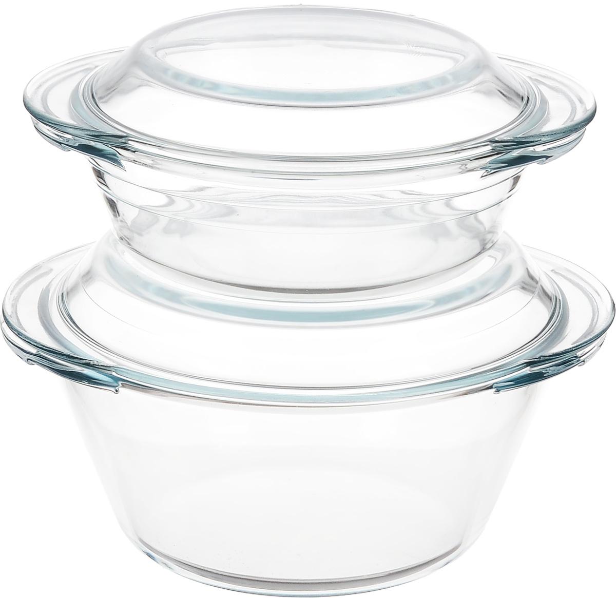 Набор кастрюль Helper Gurman, с крышками, 4 предмета. 454754 009312Набор Helper Gurman состоит из двух кастрюль с крышками. Кастрюли изготовлены из жаропрочного стекла. Стеклянная огнеупорная посуда идеальна для приготовления блюд в духовке, микроволновой печи, а также для хранения продуктов в холодильнике и морозильной камере. Безопасна с точки зрения экологии. Не вступает в реакции с готовящейся пищей, не боится кислот и солей. Не ржавеет, в ней не появляется накипь. Не впитывает запахи и жир. Благодаря прозрачности стекла, за едой можно наблюдать при ее готовке. Изделия оснащены небольшими ручками.Можно мыть в посудомоечной машине.Объем кастрюль: 1 л, 2 л.Диаметр кастрюль: 17 см, 19,5 см.Высота стенки кастрюль: 5,5 см, 9 см.