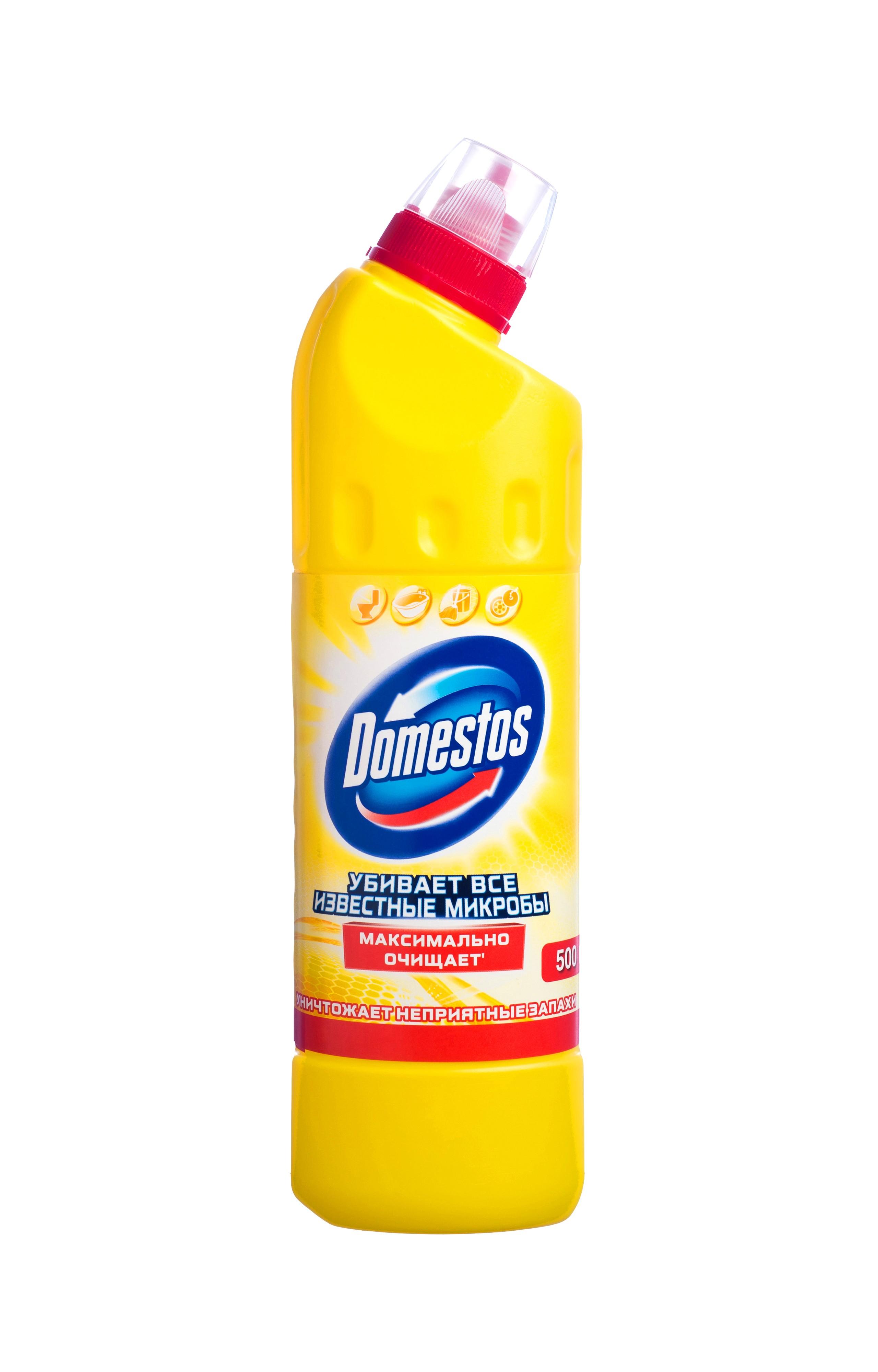 Domestos Чистящее и дезинфицирующее средство Двойная сила, универсальное, лимонная свежесть, 500 мл391602Универсальное чистящее средство Domestos Двойная сила. Лимонная свежесть подходит для уборки раковин и ванн, кафеля, пола, унитаза, сливов и водостоков на кухне и в ванной. Чистит до блеска, дезинфицирует и отбеливает. Domestos не только очищает поверхности, но и помогает бороться со всеми известными микробами - в том числе, вызывающими опасные заболевания, обеспечивая свежий аромат. Густой, многофункциональный, экономичный и невероятно эффективный. Среди средств для туалетов Domestos - бесспорный лидер, благодаря густой формуле и удобной форме бутылки.Нельзя забывать, что гигиена важна не только в туалете, но и в ванной. Влага и тепло - идеальные условия для размножения бактерий, грибка, плесени. Регулярное использование небольшого количества Domestos на мокрой тряпке или губке в ванной убирает мыльной осадок, темные пятна, дезинфицирует поверхности. Domestos безопасен. При надлежащем использовании Domestos абсолютно безвреден как для людей, так и для окружающей среды: содержащееся в нем активное дезинфицирующее вещество сразу после применения распадается на безопасные компоненты. Состав: менее 5%: гипохлорит натрия, анионные ПАВ, неионогенные ПАВ, мыло, отдушка.Товар сертифицирован.