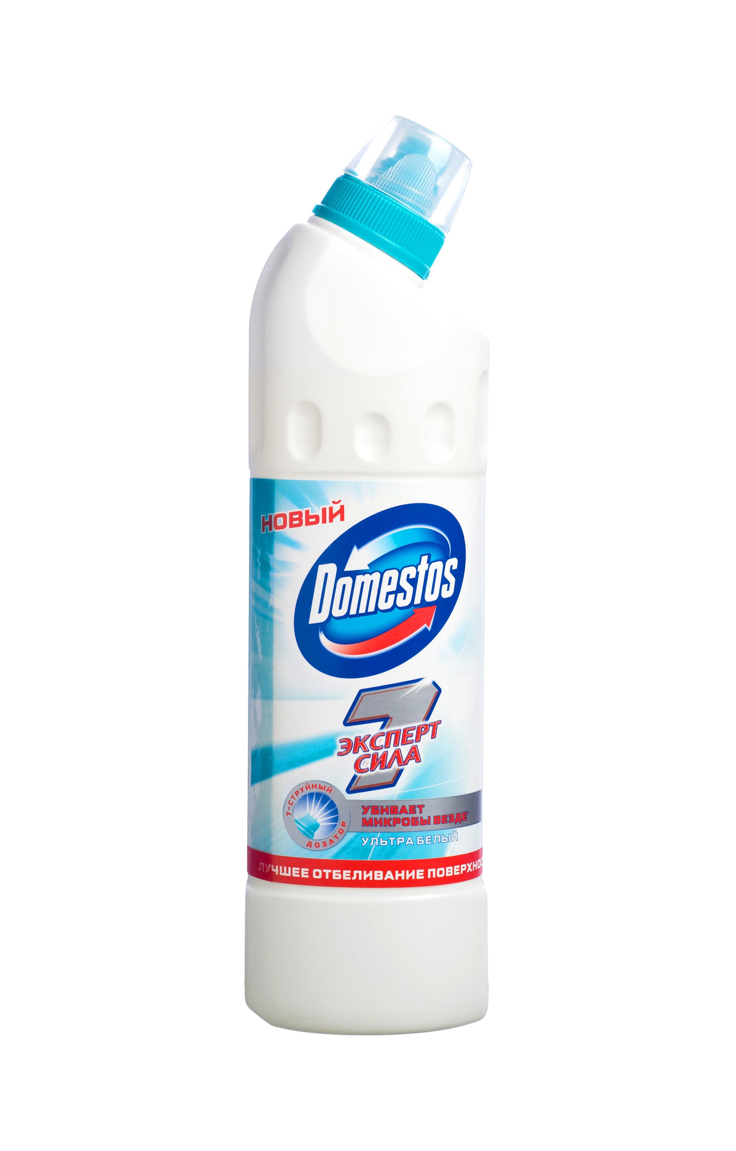 Domestos Чистящее средство для ванны и туалета Эксперт сила 7. Ультра белый, 500 мл68/5/4Чистящее средство Domestos Ультра белый. Эксперт сила обеспечит вам и вашей семье защиту от микробов в туалете, убивая все известные микробы, и в то же время подарит вашему унитазу белоснежную чистоту и сияние. Благодаря инновационному 7-струйному дозатору эффективно очищает унитаз и убивает микробы, добираясь даже до самых труднодоступных мест, в которых очищение обычно затруднено.Состав: менее 5%: гипохлорит натрия: анионные ПАВ; неионогенные ПАВ; мыло; отдушка. Товар сертифицирован.