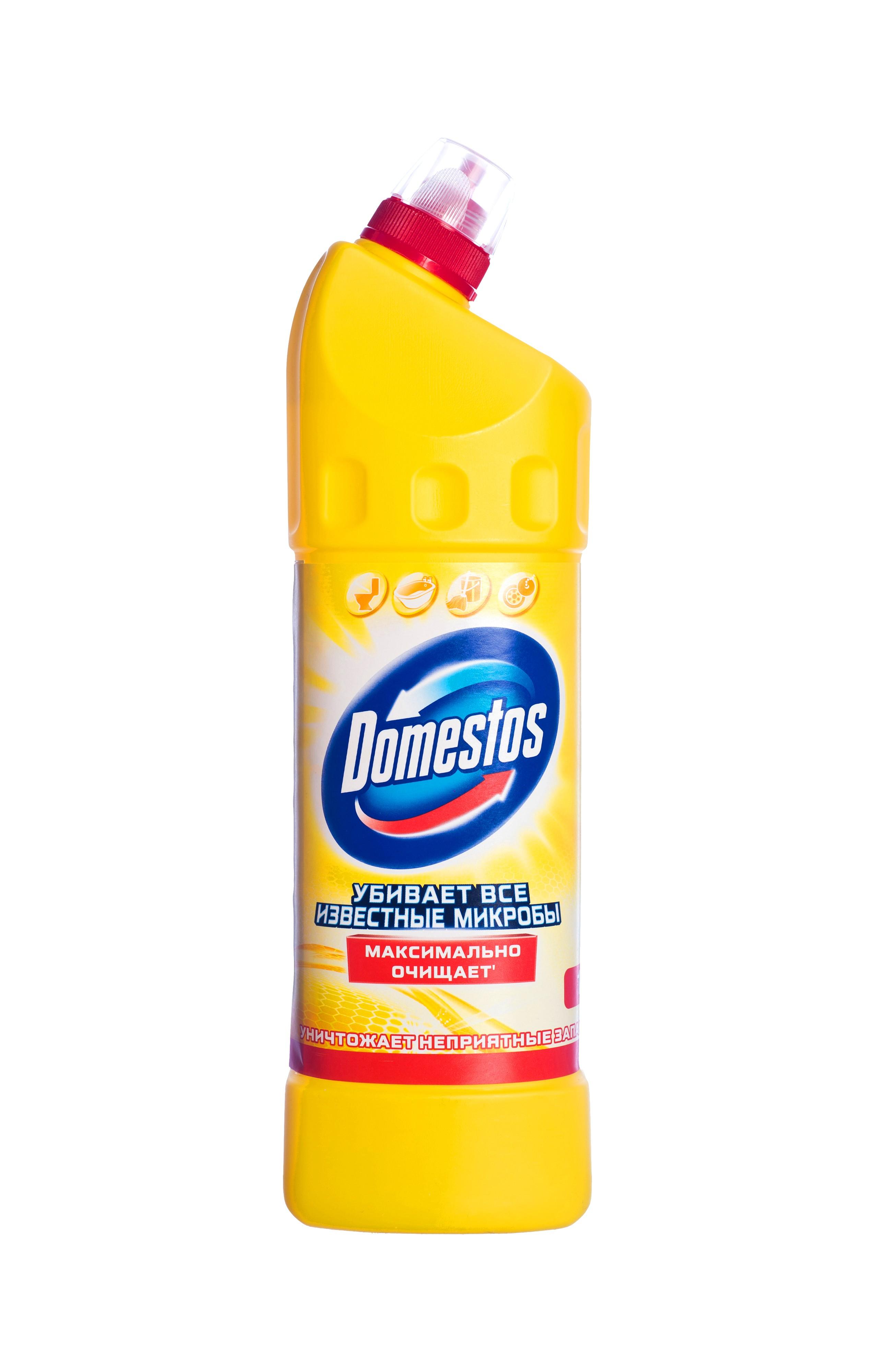 Domestos Чистящее средство Двойная сила, универсальное, лимонная свежесть, 1 л21012646/8828412Универсальное чистящее средство Domestos Двойная сила. Лимонная свежесть подходит для уборки раковин и ванн, кафеля, пола, унитаза, сливов и водостоков на кухне и в ванной. Чистит до блеска, дезинфицирует и отбеливает. Domestos не только очищает поверхности, но и помогает бороться со всеми известными микробами - в том числе, вызывающими опасные заболевания, обеспечивая свежий аромат. Густой, многофункциональный, экономичный и невероятно эффективный. Среди средств для туалетов Domestos - бесспорный лидер, благодаря густой формуле и удобной форме бутылки.Нельзя забывать, что гигиена важна не только в туалете, но и в ванной. Влага и тепло - идеальные условия для размножения бактерий, грибка, плесени. Регулярное использование небольшого количества Domestos на мокрой тряпке или губке в ванной убирает мыльной осадок, темные пятна, дезинфицирует поверхности. Domestos безопасен. При надлежащем использовании Domestos абсолютно безвреден как для людей, так и для окружающей среды: содержащееся в нем активное дезинфицирующее вещество сразу после применения распадается на безопасные компоненты. Состав: менее 5%: гипохлорит натрия, анионные ПАВ, неионогенные ПАВ, мыло, отдушка.Товар сертифицирован.