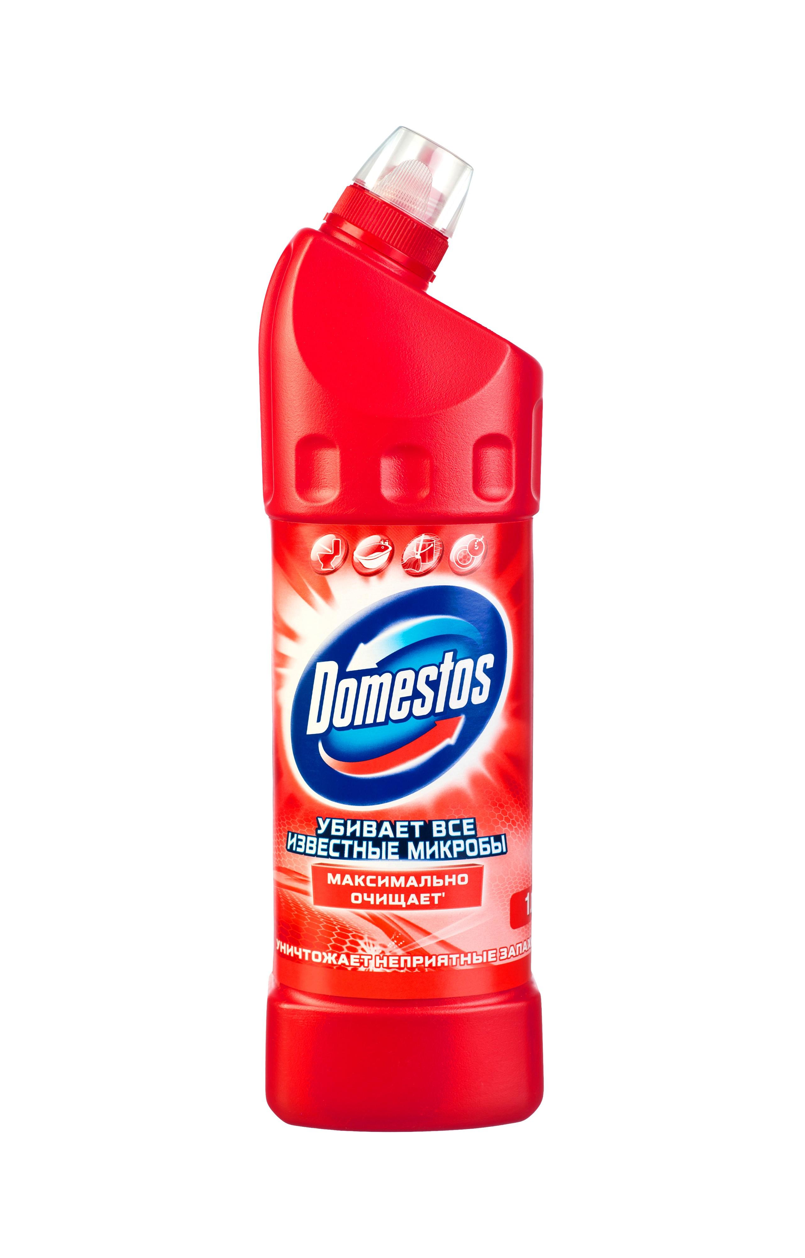 Domestos Чистящее средство Двойная сила, универсальное, фруктовая свежесть, 1 л673672Универсальное чистящее средство Domestos Двойная сила. Фруктовая свежесть подходит для уборки раковин и ванн, кафеля, пола, унитаза, сливов и водостоков на кухне и в ванной. Чистит до блеска, дезинфицирует и отбеливает. Domestos не только очищает поверхности, но и помогает бороться со всеми известными микробами - в том числе, вызывающими опасные заболевания, обеспечивая свежий аромат. Густой, многофункциональный, экономичный и невероятно эффективный. Среди средств для туалетов Domestos - бесспорный лидер, благодаря густой формуле и удобной форме бутылки.Нельзя забывать, что гигиена важна не только в туалете, но и в ванной. Влага и тепло - идеальные условия для размножения бактерий, грибка, плесени. Регулярное использование небольшого количества Domestos на мокрой тряпке или губке в ванной убирает мыльной осадок, темные пятна, дезинфицирует поверхности. Domestos безопасен. При надлежащем использовании Domestos абсолютно безвреден как для людей, так и для окружающей среды: содержащееся в нем активное дезинфицирующее вещество сразу после применения распадается на безопасные компоненты. Состав: менее 5%: гипохлорит натрия, анионные ПАВ, неионогенные ПАВ, мыло, отдушка.Товар сертифицирован.