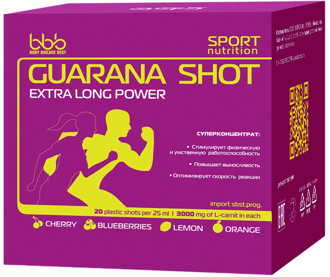 Энергетический напиток bbb Гуарана / Guarana. Вишня, 25 мл, 20 ампулS01-400Суперконцентрат: - стимулирует физическую и умственную работоспособность - повышает выносливость - оптимизирует силу и скорость реакцийВ каждой ампуле 150 мг кофеина (гуарана в пересчёте на кофеин + кофеин) Рекомендации по применению: Принимать по 1 ампуле за 20-30 минут до нагрузок.Состав: экстракт гуараны 22% - 500 мг (в т.ч. кофеин-110 мг), кофеин - 40 мг, аскорбиновая кислота, ароматизатор, идентичный натуральному, подсластитель сукралоза, вода очищенная.