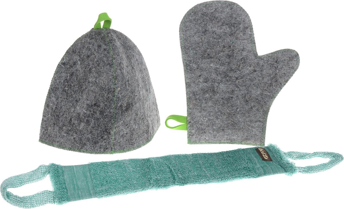 Набор для бани и сауны Главбаня Банная классика, в чехле, 4 предметаK100Оригинальный набор для бани Главбаня Банная классика включает в себя шапку, рукавицу и мочалку. Предметы комплекта обладают великолепными гигроскопичными свойствами и защищают от высоких температур в парной. Оригинальный дизайн изделий добавит эстетики банным процедурам. Такой набор поможет с удовольствием и пользой провести время в бане, а также станет чудесным подарком друзьям и знакомым, которые по достоинству его оценят при первом же использовании.Набор упакован в удобный чехол на молнии для хранения.Рекомендуется ручная стирка.Размер мочалки (с учетом ручек): 71 х 9,5 см. Обхват головы: 69 см. Размер рукавицы: 29 х 23 см.