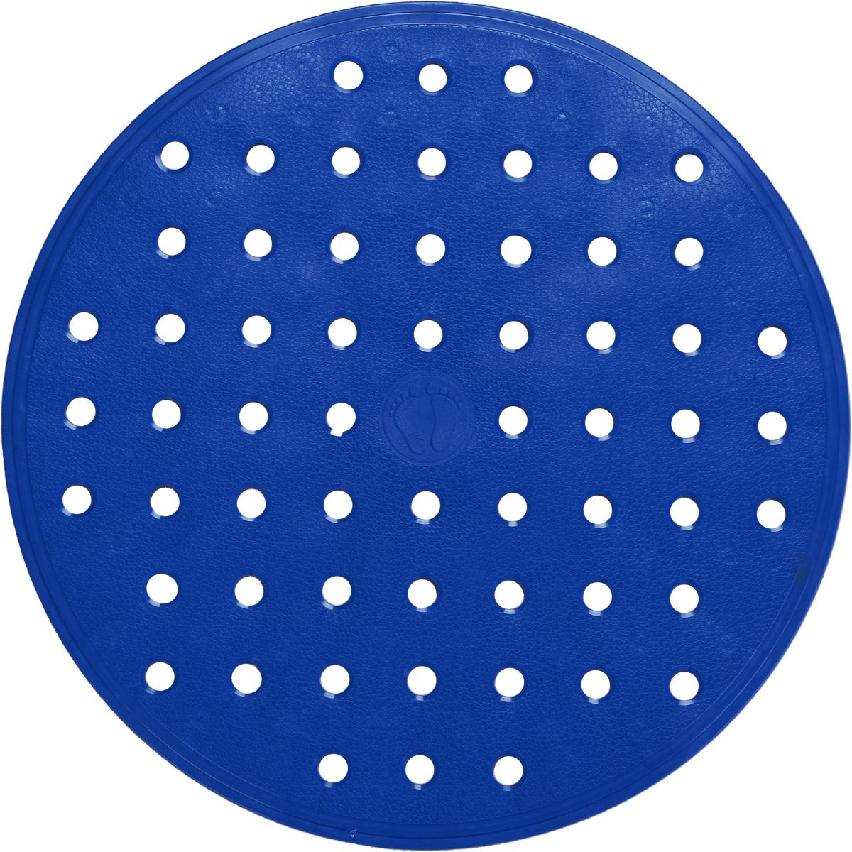 Коврик для ванной Ridder Action, противоскользящий, цвет: синий, диаметр 53 см12723Коврик для ванной Ridder Action, изготовленный из каучука с защитой от плесени и грибка, создает комфортное антискользящее покрытие в ванной комнате. Крепится к поверхности при помощи присосок. Изделие удобно в использовании и легко моется теплой водой.Размеры коврика: 53 х 53 х 0,5 см