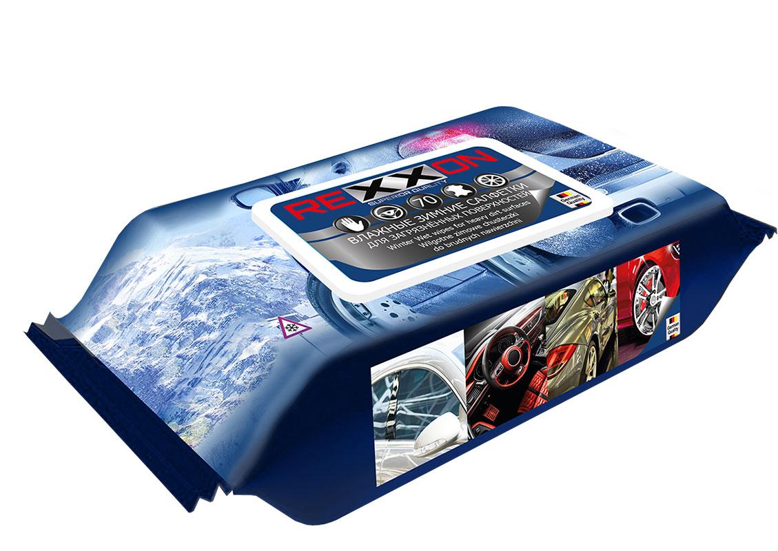 Салфетки влажные автомобильные Rexxon зимние, 70 шт471347Зимние автомобильные салфетки для загрязнённых поверхностей. Действуют в холодное время года!!! Благодаря специальной немецкой рецептуре замедляется процесс замерзания салфеток в температурных пределах до -10 С воздуха. При размораживании сохраняют свои свойства.