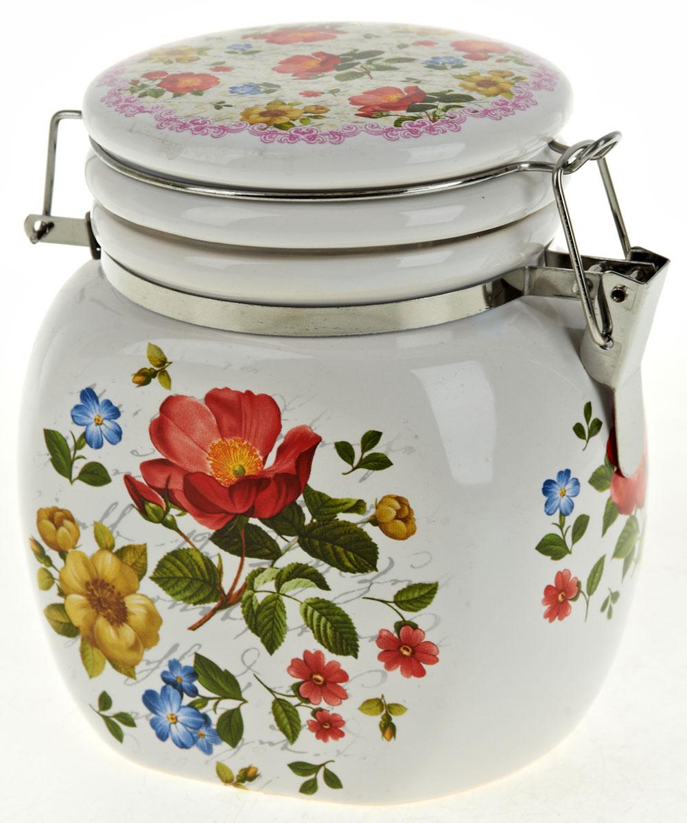 Банка для сыпучих продуктов Nouvelle De France Цветочная поэма, 500 мл. 0660128Аксион Т-33Банка для сыпучих продуктов изготовлена из прочной доломитовой керамики, покрытой слоем сверкающей гладкой глазури. Изделие оформлено красочным изображением. Банка прекрасно подойдет для хранения различных сыпучих продуктов: чая, кофе, сахара, круп и многого другого.Изящная емкость не только поможет хранить разнообразные сыпучие продукты, но и стильно дополнит интерьер кухни. Изделие подходит для использования в посудомоечной машине.