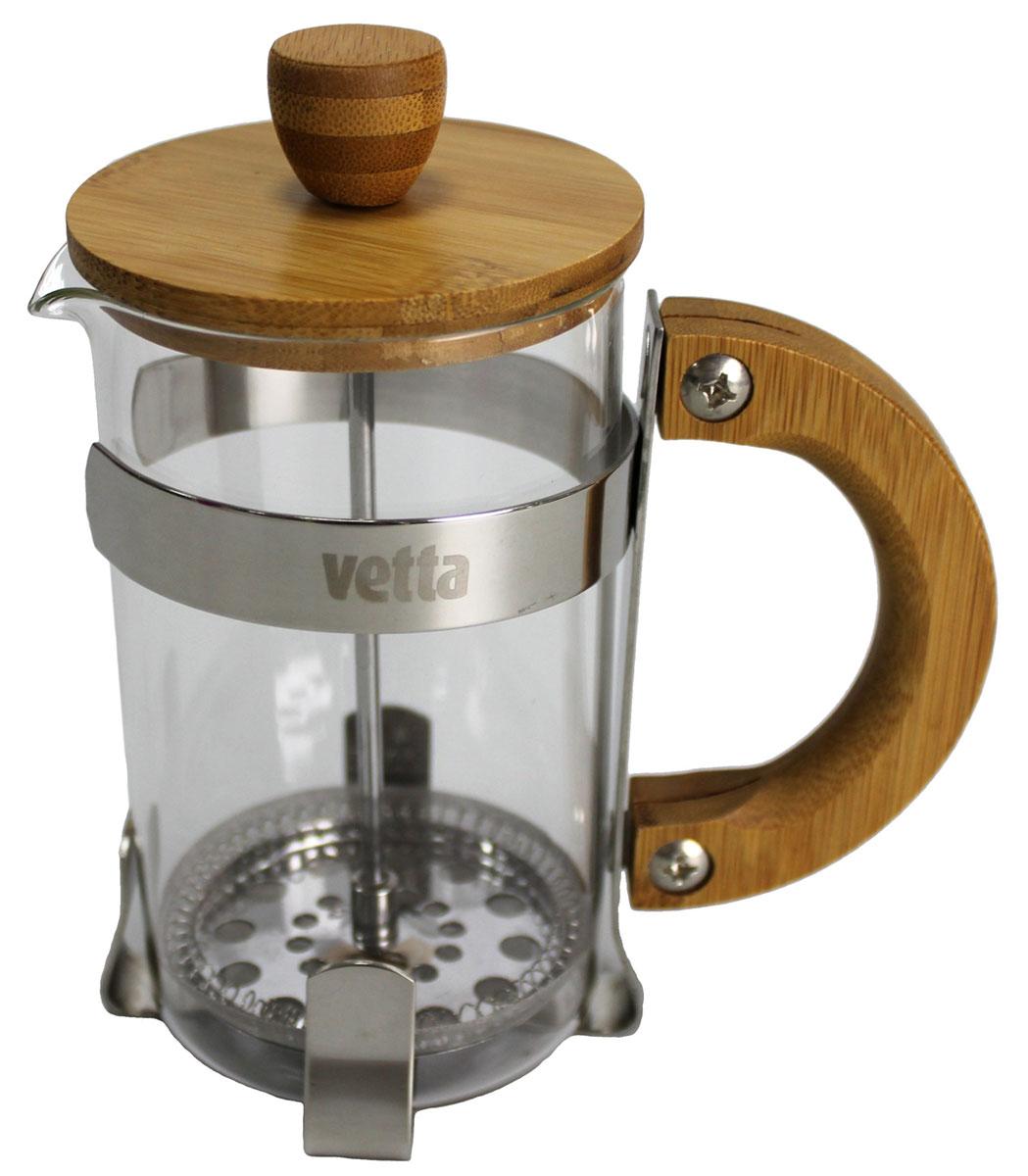 Френч-пресс Vetta, 600 мл. 850120850120Френч-пресс Vetta изготовлен из нержавеющей стали, жаропрочного стекла и бамбука. Фильтр из нержавеющей стали. Френч-пресс позволит быстро и просто приготовить свежий и ароматный кофе или чай.