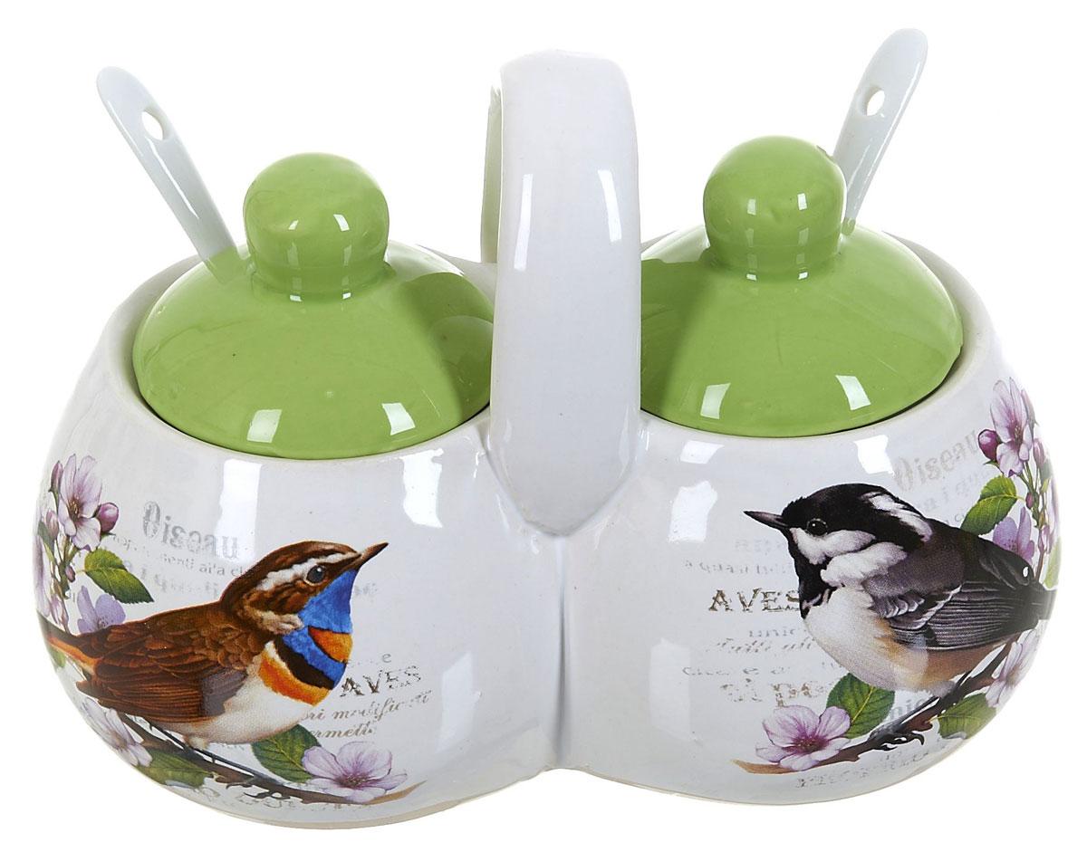 Банка для сыпучих продуктов Polystar Birds, двойная, с ложками, 250 мл21395599Банка для сыпучих продуктов Polystar Birds прекрасно подойдет для хранения специй, круп и других сыпучих продуктов. Банка изготовлена из керамики. Она будет превосходно смотреться в любом интерьере кухни.В комплекте 2 крышки и 2 ложечки.Объем: 250 мл.
