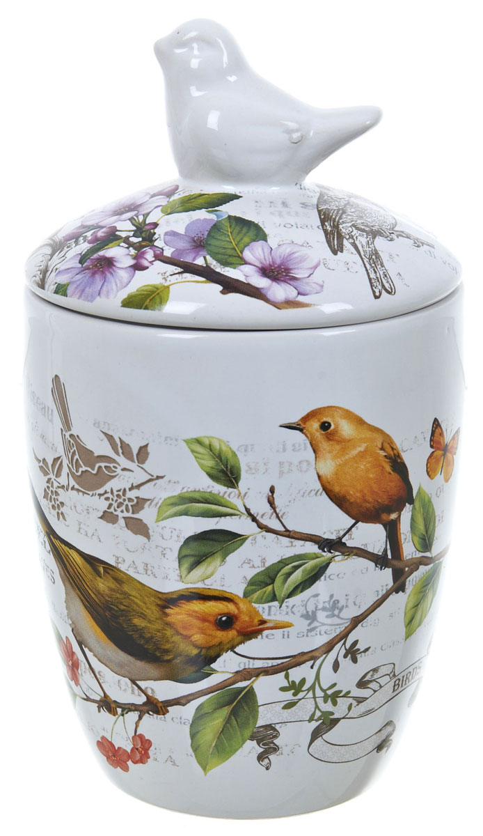 Банка для сыпучих продуктов Polystar Birds, 600 млVT-1520(SR)Банка для сыпучих продуктов Polystar Birds изготовлена из прочной доломитовой керамики, покрытой слоем сверкающей гладкой глазури. Изделие оформлено красочным изображением. Банка прекрасно подойдет для хранения различных сыпучих продуктов: чая, кофе, сахара, круп и многого другого. Благодаря силиконовой прослойке и бугельному замку, крышка герметично закрывается, что позволяет дольше сохранять продукты свежими. Изящная емкость не только поможет хранить разнообразные сыпучие продукты, но и стильно дополнит интерьер кухни. Изделие подходит для использования в посудомоечной машине и в холодильнике.
