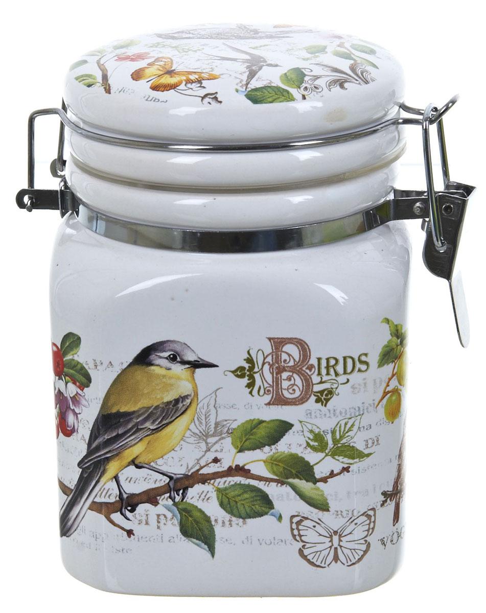 Банка для сыпучих продуктов Polystar Birds, 400 мл21395599Банка для сыпучих продуктов Polystar Birds изготовлена из прочной доломитовой керамики, покрытой слоем сверкающей гладкой глазури. Изделие оформлено красочным изображением. Банка прекрасно подойдет для хранения различных сыпучих продуктов: чая, кофе, сахара, круп и многого другого. Благодаря силиконовой прослойке и бугельному замку, крышка герметично закрывается, что позволяет дольше сохранять продукты свежими. Изящная емкость не только поможет хранить разнообразные сыпучие продукты, но и стильно дополнит интерьер кухни. Изделие подходит для использования в посудомоечной машине и в холодильнике.