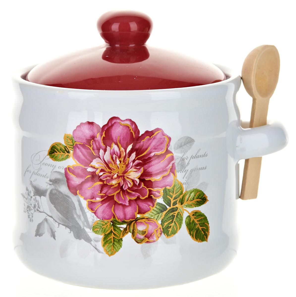Банка для сыпучих продуктов Polystar Райский сад, с ложкой, 500 мл21395599Банка для сыпучих продуктов изготовлена из прочной доломитовой керамики, с деревянной ложечкой. Изделие оформлено красочным изображением. Банка прекрасно подойдет для хранения различных сыпучих продуктов: чая, кофе, сахара, круп и многого другого. Изящная емкость не только поможет хранить разнообразные сыпучие продукты, но и стильно дополнит интерьер кухни. Изделие подходит для использования в посудомоечной машине.