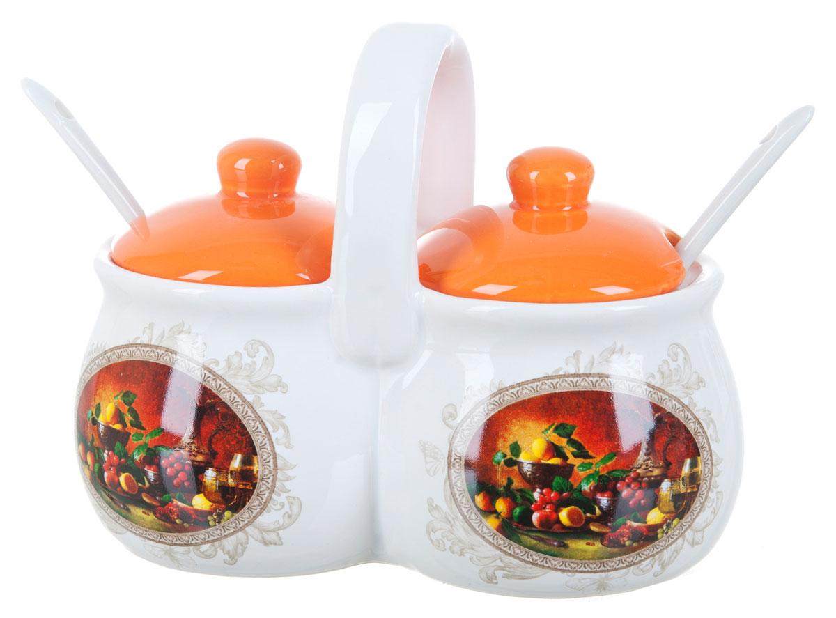 Банка для сыпучих продуктов Polystar Севилья, двойная, с ложками, 200 млVT-1520(SR)Банка для сыпучих продуктов Polystar Севилья прекрасно подойдет для хранения специй, круп и других сыпучих продуктов. Банка изготовлена из керамики. Она будет превосходно смотреться в любом интерьере кухни.В комплекте 2 крышки и 2 ложечки.Объем: 200 мл.