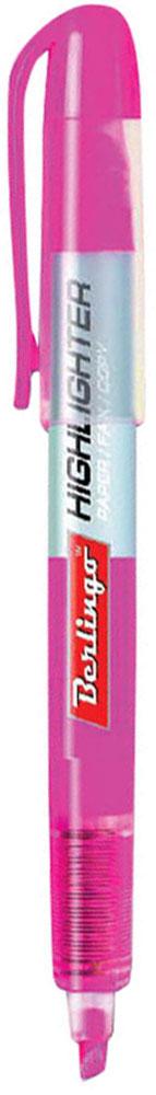 Berlingo Текстовыделитель цвет розовый153504Текстовыделитель Berlingo с флуоресцентным розовым цветом на водной основе. Длина непрерывной линии составляет до 200 метров. Толщина линии от 1 до 4 мм. Имеет удобный прозрачный корпус, который помогает контролировать расход чернил. Цвет колпачка и торцевого элемента соответствует цвету чернил. Подходит для всех типов бумаги.