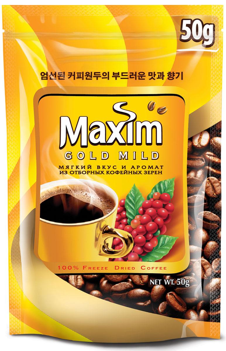 Maxim Gold Mild кофе натуральный растворимый сублимированный, 50 г4251189Maxim – это сублимированный кофе высокого качества по доступной цене. Это бренд №2 в Сибири и на Дальнем Востоке. Ведет свою историю с 1971 года. Представлен двумя вкусами – Original и Mild. Maxim Gold Mild – это мягкий вкус с оттенками солода и тонкий аромат.