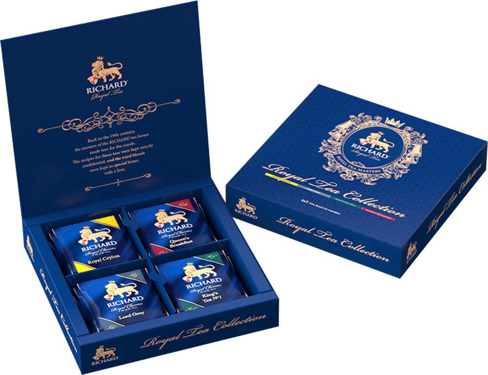 Richard Royal Tea Collection чай черный ассорти в пакетиках, 20 шт100156Черный чай Richard Royal Tea Collection можно с гордостью ставить на праздничный стол!В упаковку входят четыре вида чая:Royal Ceylon - бесценный шедевр Королевской чайной коллекции, блистательный купаж Royal Ceylon хранит верность тонкому вкусу коронованных особ. Отборный высокогорный цейлонский чай с мягкими, едва уловимыми сладковатыми нотками - неизменный выбор королей.Lord Grey - аристократичность и безупречный вкус - главные отличия особ высшего света и... чая Lord Grey. Неповторимый букет Золотого цейлонского чая с чарующей нотой бергамота и легким цитрусовым шлейфом - фаворит светских раутов.Kings Tea No.1 - любимый чай Его Величества, сопровождающий монарха в летних резиденциях и деловых поездках. Этот элегантный чайный букет с пикантным и тонким шлейфом кафрского лайма и английской мяты помогает сохранить ясность мысли и бодрость духа.Queens Breakfast - этому чаю в Королевской коллекции отведена важная роль обеспечить монаршей семье наилучшее начало каждого дня. Queens Breakfast - роскошный, насыщенный, бодрящий, с приятным терпким вкусом и нежным ароматом.