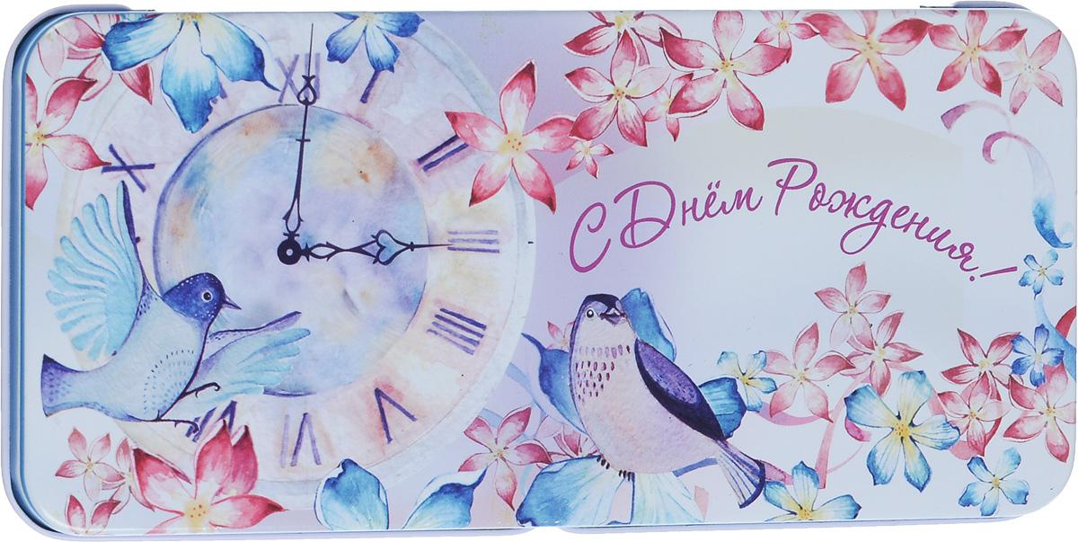 Коробка подарочная Феникс-Презент Часы и птичка, 16,6 х 7,6 х 1 см781Подарочная коробка Феникс-Презент Часы и птичка выполнена из черного окрашенного металла и украшена яркой картинкой, соответствующей событию, для которого предназначена. Подарочная коробка для денег - это наилучшее решение, если вы хотите порадовать ваших близких и создать праздничное настроение, ведь денежный подарок, преподнесенный в оригинальной упаковке, всегда будет эффектным и запоминающимся.