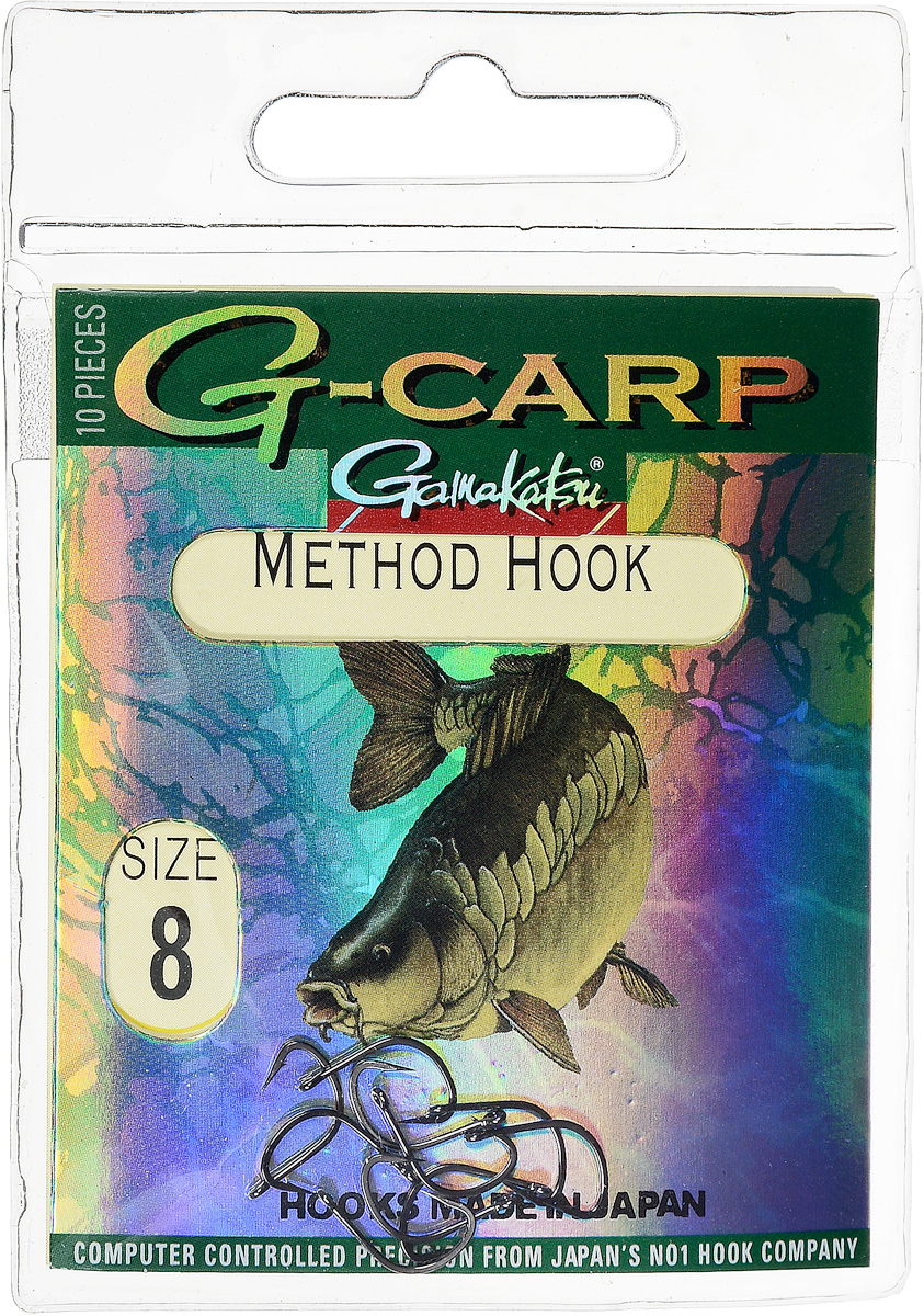 Крючок рыболовный Gamakatsu G-Carp. Method Hook, №8, 10 шт14764501800Крючок Gamakatsu G-Carp. Method Hook предназначен, в первую очередь, для применения в составе донных оснасток, сопряженных с кормушками, не только в карповой, но и в фидерной ловле. Увеличенная ширина загиба позволяет эффективно работать с приманками, расположенными непосредственно на крючке. Применимы в волосяных оснастках. Отлично работают на участках дна с наличием мусора. Применимы в стоячей воде и на течении. Имеют боковой отгиб жала, направленного в сторону колечка, что обеспечивает высокую эффективность их применения. Прокованная проволока обеспечивает при небольших диаметрах большой резерв мощности.Вид крепления: кольцо.Размер крючка: №8.