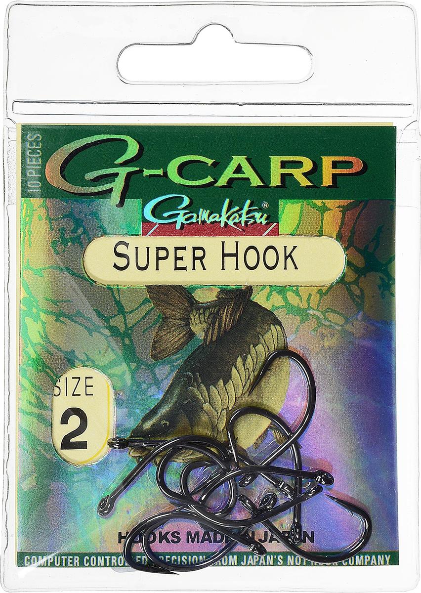 Крючок рыболовный Gamakatsu G-Carp. Super Hook, №2, 10 шт14792200800Крючок Gamakatsu G-Carp. Super Hook предназначен для применения в составе волосяных оснасток с тонущими насадками, сборными и балансированными на чистых участках дна. Универсальная форма крюка позволяет применять его не только в составе монтажей, но и насаживать наживку непосредственно на него. Областью применения является как стоячая вода, так и течение. Не имеют бокового отгиба, острие прямое, без подгиба внутрь.На сегодняшний день рыболовные крючки Gamakatsu являются лучшими по качеству в Японии и Европе. Все крючки выполняются из очень прочной стальной проволоки. Жала крючков имеют химическую заточку. Вид крепления: ушко.Размер крючка: №2.