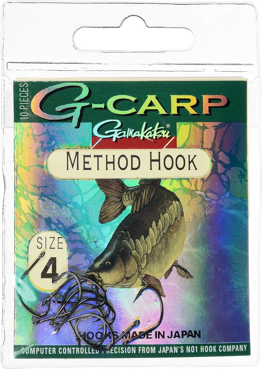 Крючок рыболовный Gamakatsu G-Carp. Method Hook, №4, 10 штG-Bait № 24Крючок Gamakatsu G-Carp. Method Hook предназначен, в первую очередь, для применения в составе донных оснасток, сопряженных с кормушками, не только в карповой, но и в фидерной ловле. Увеличенная ширина загиба позволяет эффективно работать с приманками, расположенными непосредственно на крючке. Применимы в волосяных оснастках. Отлично работают на участках дна с наличием мусора. Применимы в стоячей воде и на течении. Имеют боковой отгиб жала, направленного в сторону колечка, что обеспечивает высокую эффективность их применения. Прокованная проволока обеспечивает при небольших диаметрах большой резерв мощности.Вид крепления: кольцо.Размер крючка: №4.
