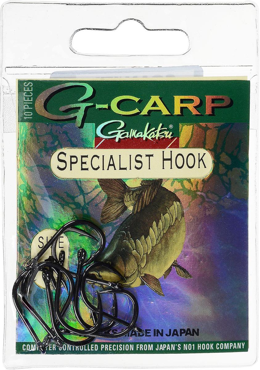 Крючок рыболовный Gamakatsu G-Carp. Specialist Hook, №1, 10 шт14665201600Gamakatsu G-Carp. Specialist Hook - карповый крючок с жалом с углублением, кованым прочным толстым цевьем, круглым ушком и крючком-джигом.На сегодняшний день рыболовные крючки Gamakatsu являются лучшими по качеству в Японии и Европе. Все крючки выполняются из очень прочной стальной проволоки. Жала крючков имеют химическую заточку. Вид крепления: ушко.Размер крючка: №1.