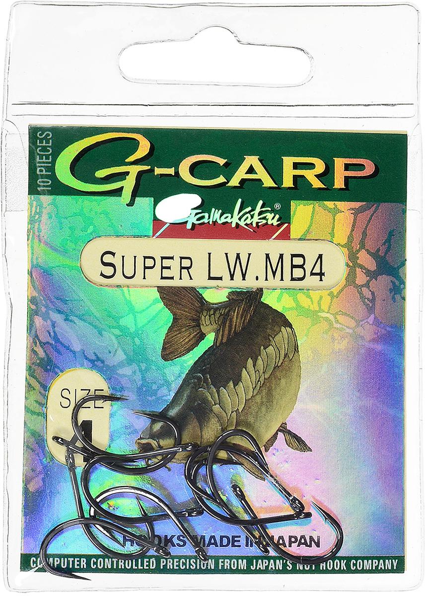 Крючок рыболовный Gamakatsu G-Carp Super LW MB4, размер 4, 10 шт14764501200Крючок Gamakatsu G-Carp Super LW MB4 подходит для ловли карпа. Изделие изготовлено из стали повышенной прочности. Крючок долго остается острым и легко впивается даже в твердую кость. Крючок не имеет бокового отгиба, жало прямое. Применяется в составе волосяных оснасток с тонущими насадками, а также с насадками типа снеговик. Подходит для растительных и животных насадок. Крючок прекрасно справляется на участках дна с наличием донного мусора. Размер: 4.Количество: 10 шт. Вид головки: кольцо.