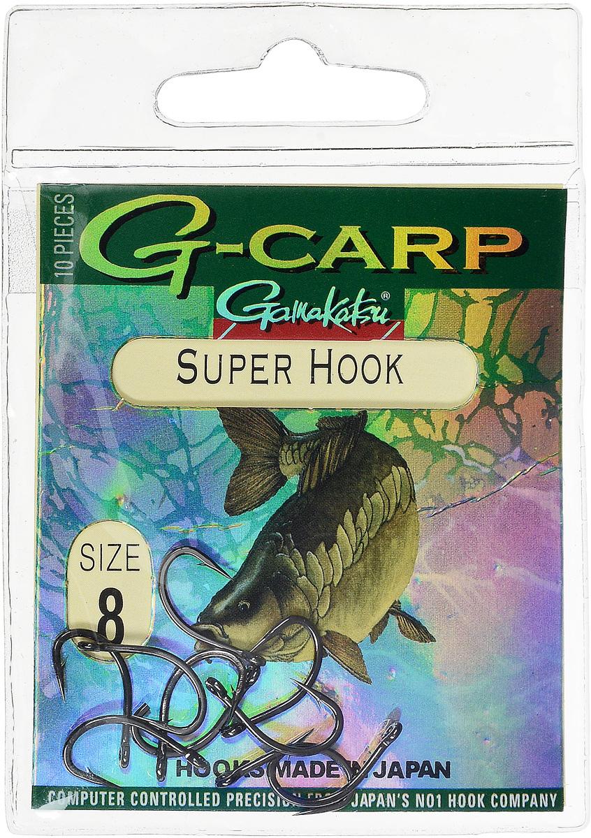 Крючок рыболовный Gamakatsu G-Carp. Super Hook, №8, 10 шт310-14012Крючок Gamakatsu G-Carp. Super Hook предназначен для применения в составе волосяных оснасток с тонущими насадками, сборными и балансированными на чистых участках дна. Универсальная форма крюка позволяет применять его не только в составе монтажей, но и насаживать наживку непосредственно на него. Областью применения является как стоячая вода, так и течение. Не имеют бокового отгиба, острие прямое, без подгиба внутрь.На сегодняшний день рыболовные крючки Gamakatsu являются лучшими по качеству в Японии и Европе. Все крючки выполняются из очень прочной стальной проволоки. Жала крючков имеют химическую заточку. Вид крепления: ушко.Размер крючка: №8.